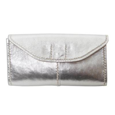 Metallic Silver Leather Wallet with Magnetic Snap Clasp