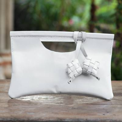 Leather clutch, 'Ketupat in Alabaster' - Ivory Leather Clutch with Magnetic Snap Clasp