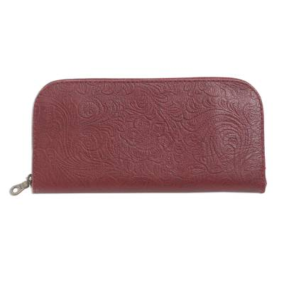 Red Leather Wallet Tooled with Floral Designs