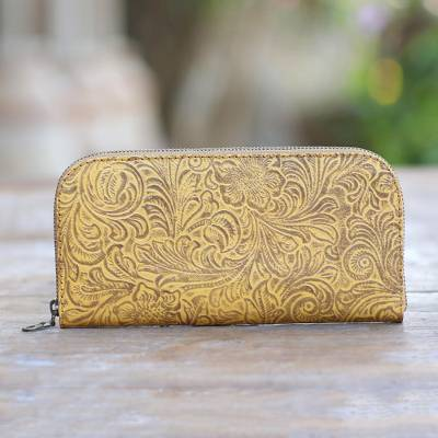 Tooled leather wallet, 'Flowers of Ubud in Maize' - Handmade Yellow Leather Wallet from Bali