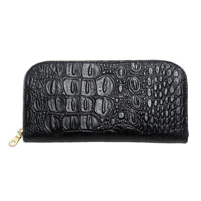 Croc Embossed Black Leather Wallet
