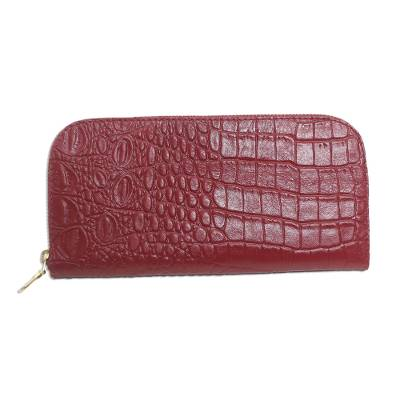 Red Embossed Leather Wallet from Bali