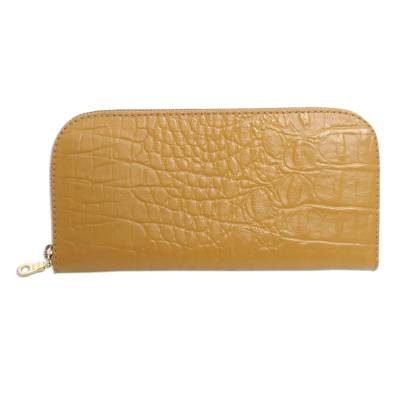 Yellow Leather Wallet with Crocodile Texture