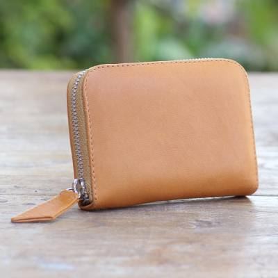 Leather wallet,'Ginger Simplicity' - Ginger Colored Leather Zippered Wallet