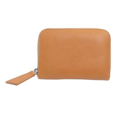 Ginger Colored Leather Zippered Wallet