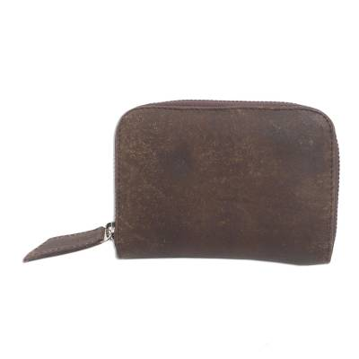 Distressed Brown Leather Wallet from Bali