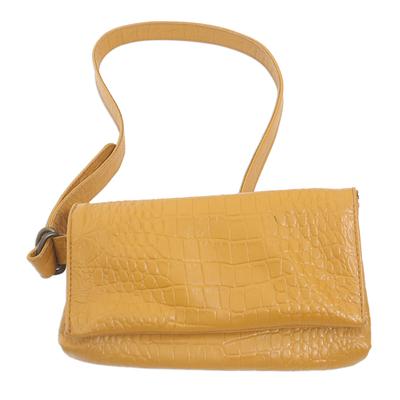 Artisan Made Leather Crocodile Texture Shoulder Bag