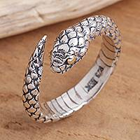 Gold-accented sterling silver wrap ring, 'Eye of the Serpent' - Realistic Sterling Silver Snake Wrap Ring