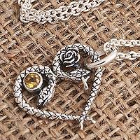 Citrine pendant necklace, 'Serpentine Romance' - Snake Motif Citrine Pendant Necklace