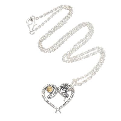 Citrine pendant necklace, 'Serpentine Romance' - Snake Motif Citrine Pendant Necklace