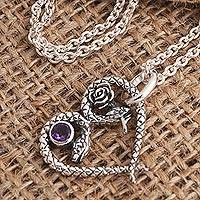 Amethyst pendant necklace, 'Serpentine Romance' - Amethyst Snake Pendant Necklace in Sterling Silver