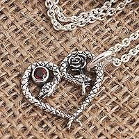 Garnet pendant necklace, 'Serpentine Romance' - Garnet Pendant Necklace with Snake Motif