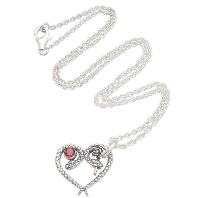 Garnet pendant necklace, 'Serpentine Romance' - Garnet Pendant Necklace with Snake Motif