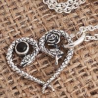 Onyx pendant necklace, 'Serpentine Romance' - Snake Pendant Necklace with Onyx Cabochon