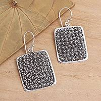 Sterling silver dangle earrings, 'Sparkle Lights' - Hand Crafted 925 Sterling Silver Dangle Earrings