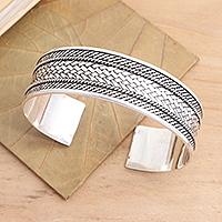 Sterling silver cuff bracelet, 'Woven Motif'