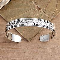 Sterling silver cuff bracelet, 'Woven Dreams' - Basketweave Oxidized Sterling Silver Cuff Bracelet