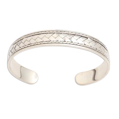 Sterling silver cuff bracelet, 'Woven Dreams' - Basketweave Oxidized Sterling Silver Cuff Bracelet