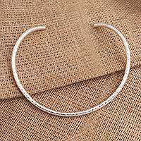 Sterling silver collar necklace, 'Undulating Waves' - Hammered Sterling Silver Collar Necklace