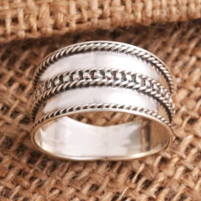 Sterling silver band ring, 'Natural Polish' - Unisex Sterling Silver Band Ring
