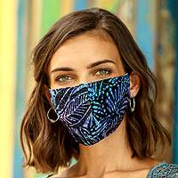 Rayon batik face masks, 'Island Attitude' (set of 3) - 3 Double Layer Hand Stamped Rayon Batik Elastic Loop Masks