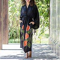 Hand-painted rayon robe, 'Sunflower on Black' - Hand Painted Black Floral Rayon Robe