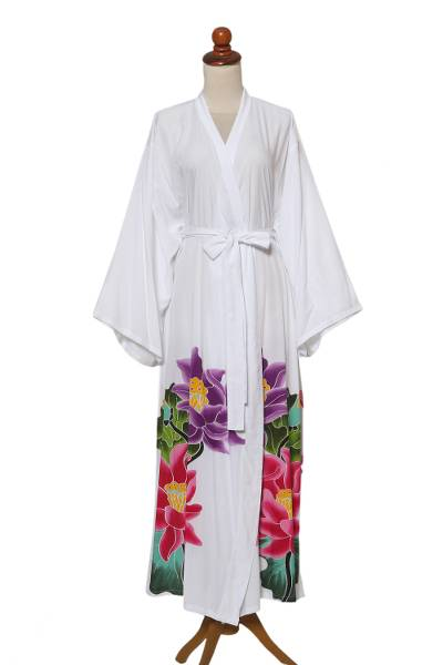 White Floral Hand Painted Rayon Robe