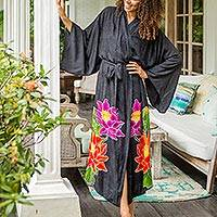 Hand-painted rayon robe, 'Beautiful Flowers in Grey' - Floral Hand Painted Grey Robe from Bali
