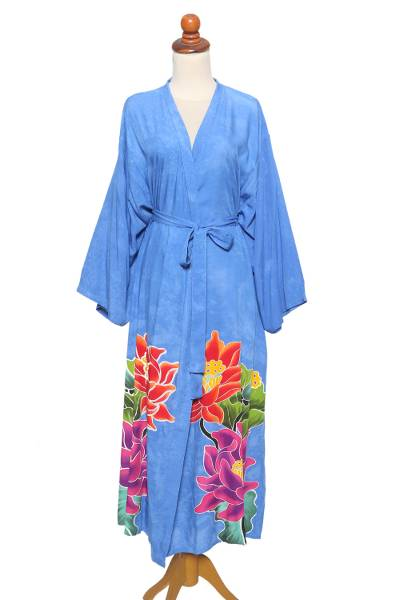 Hand-painted rayon robe, 'Beautiful Flowers in Blue' - Blue and Multicolored Floral Rayon Robe