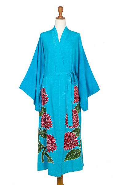 Hand-painted rayon robe, 'Beautiful Flowers in Turquoise' - Hand Painted Floral Rayon Robe