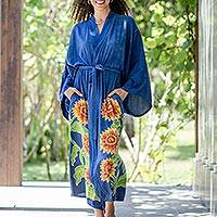 Hand-painted rayon robe, 'Beautiful Flowers in Blue' - Hand Painted Floral Rayon Robe
