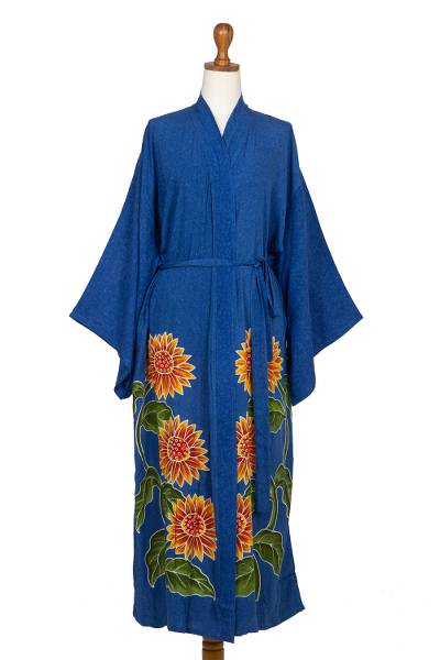 Hand Painted Floral Rayon Robe