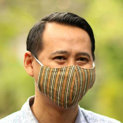 Cotton lurik face masks, 'Javanese Earth Moods' (set of 3) - 3 Handwoven Cotton Lurik Contoured 2-Layer Face Masks
