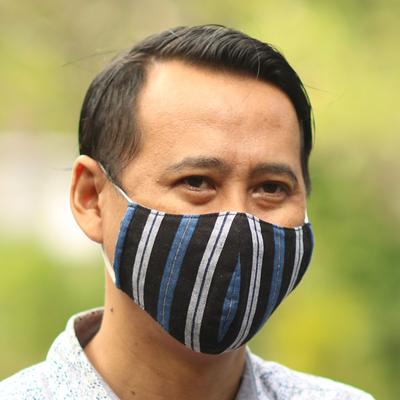 Cotton lurik face masks, 'Javanese Blues' (set of 3) - 3 Handwoven Cotton Lurik Contoured 2-Layer Blue Face Masks