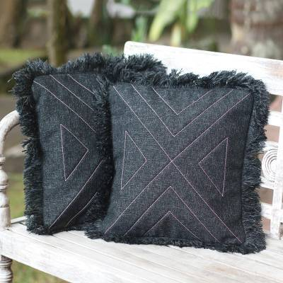 Cotton cushion covers, 'Triangle in Black' (pair) - Triangle Pattern 100% Cotton Cushion Cover Pair