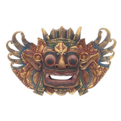 Balinese Acacia Wood Painted Mask King of the Spirits Barong