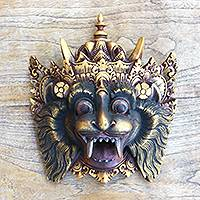 Wood mask, 'Barong Macan II' - Barong Macan Wood Mask from Bali Handpainted