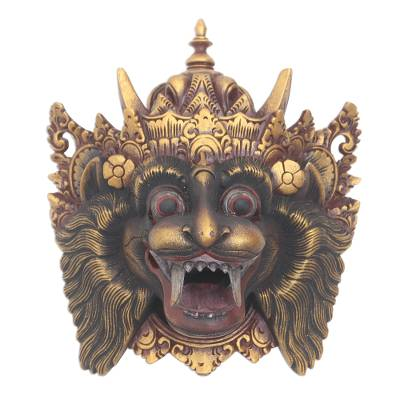 Barong Macan Wood Mask from Bali Handpainted