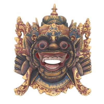 Wood mask, 'Bhoma' - Hand Carved Wood Balinese Bhoma Mask