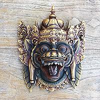 Wood mask, 'Naga Basuki' - Balinese Dragon Wood Mask Hand Painted