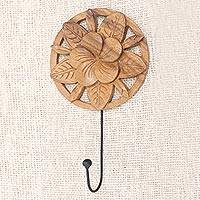 Wood wall hook, 'Blooming Jepun II' - Frangipani Motif Wood and Iron Wall Hook