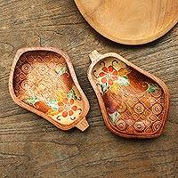 Wood batik decorative bowls, 'Papaya' (pair) - Two Hand Painted Decorative Wood Batik Bowls