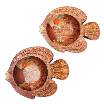 2 Fish-Shaped Decorative Wood Batik Bowls from Java