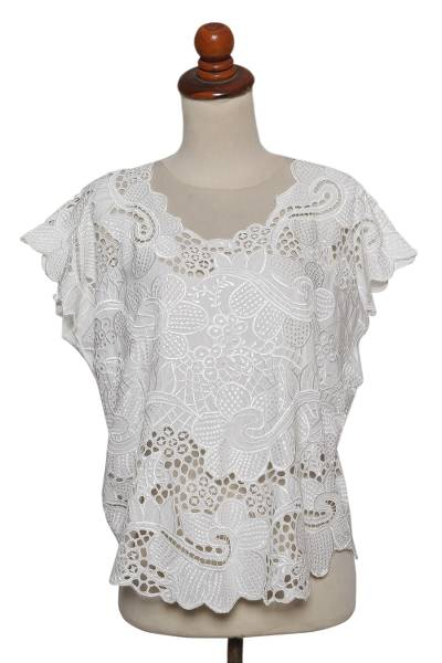 Rayon short-sleeved top, 'Rose Mallow in White' - Floral White-On-White Openwork and Embroidered Rayon Top