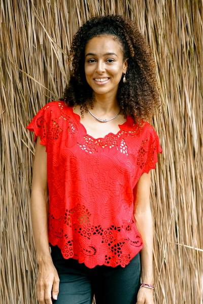 Rayon short-sleeved top, 'Rose Mallow in Red' - Red Floral Openwork and Embroidered Rayon Top