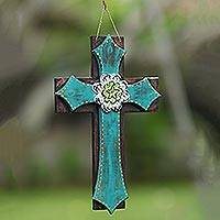Wood wall cross, 'Weathered Faith in Green' - Rustic Hand Carved Floral Accent Wall Cross