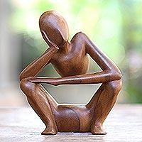 Suar wood statuette, 'Thinking Posture' - Hand Carved Suar Wood Statuette