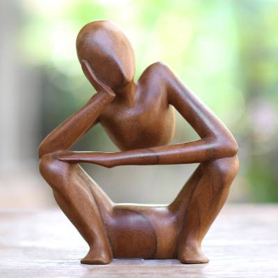 Suar wood statuette, 'Thinking Posture' - Hand Carved Suar Wood Statuette