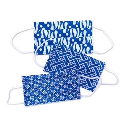 Cotton batik face masks, 'Balinese Blue' (set of 3) - 3 Blue and White Cotton Batik Pleated 2-Layer Face Masks