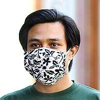 Cotton batik face masks, 'Balinese Ebony' (set of 3) - 3 Black and White Cotton Batik Pleated 2-Layer Face Masks
